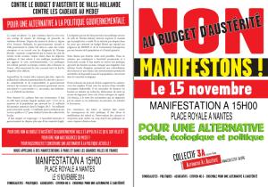 3A Nantes tract et affiche image 15 novembre 2014 contre l'austérité