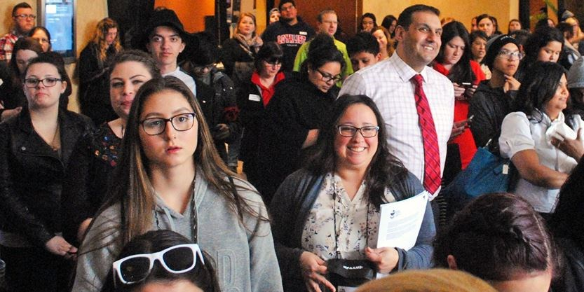 About 130 high school aged Indigenous youth who were wrapping up a three-day Indigenous youth career conference listened to the announcement of the two new programs. - Paul Forsyth/Metroland