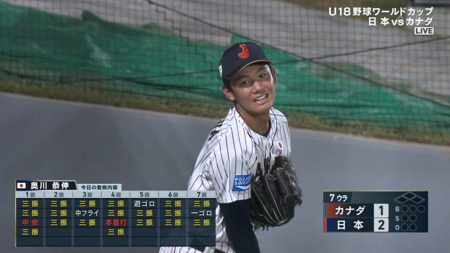 【U18W杯】奥川恭伸、7回18奪三振wwwwwwwwwwwwwww