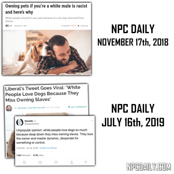 NPC Daily predicted white males to be racist if they own pets.