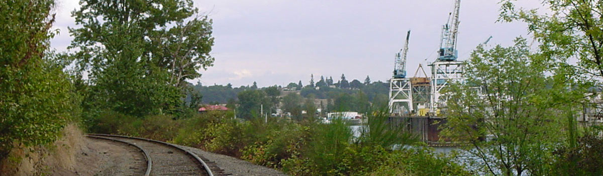 View north to Swan Island from the railroad tracks
