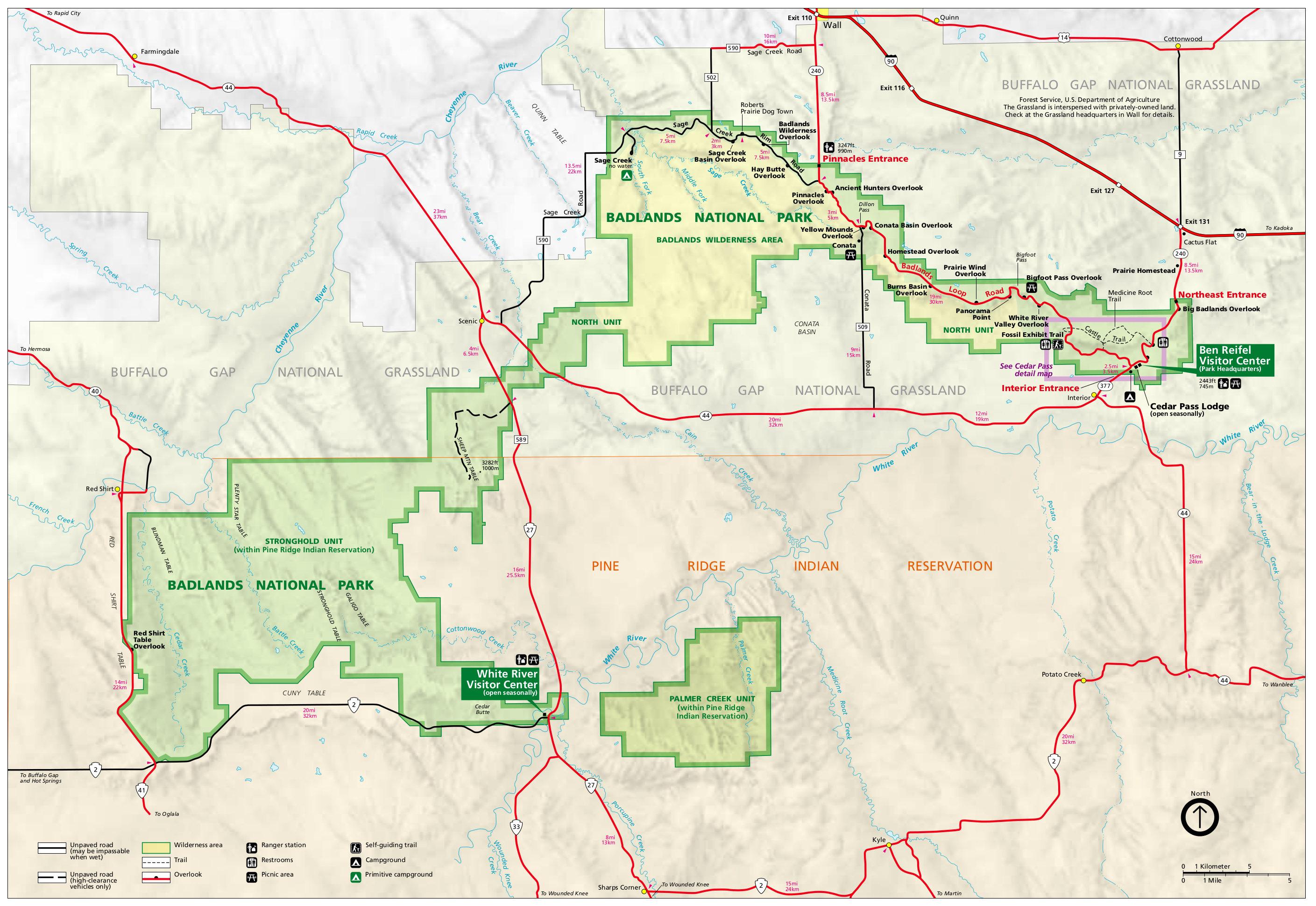 Badlands National Park Map Afp Cv