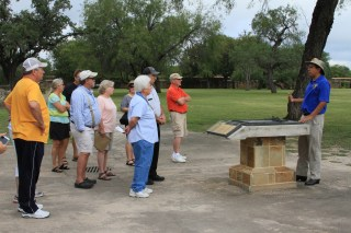 Misael Orozco giving a tour to visitors at Mission San Jose