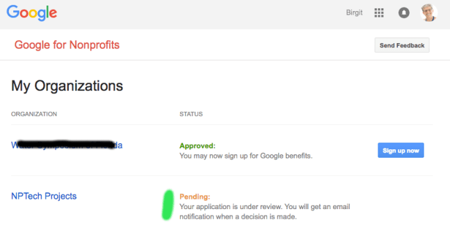 Google For Nonprofits My Organizations Application Pending Screen