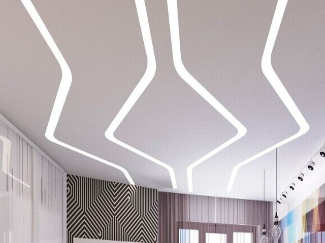 Парящие линии - натяжной потолок от Престиж