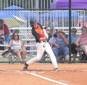 Landon Soles connects for a double against Duplin County.