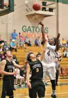 Kendrick Green goes up for two of his 12 points against Topsail. The Stallions led most of the contest before falling 35-31.