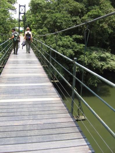 Shinichi and Ellie cross the bridge at La Selva Biological Research Station, Costa Rica