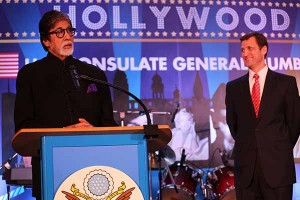 U.S. Consul General Tom Vajda looks on as Mr. Amitabh Bachchan delivers remarks.