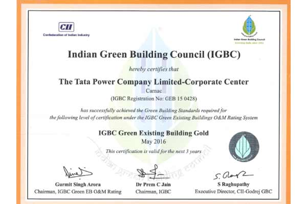 """Tata Power's Corporate Centre, Carnac building awarded """"IGBC GOLD"""" rating, under """"IGBC's Green Existing Buildings"""" category"""
