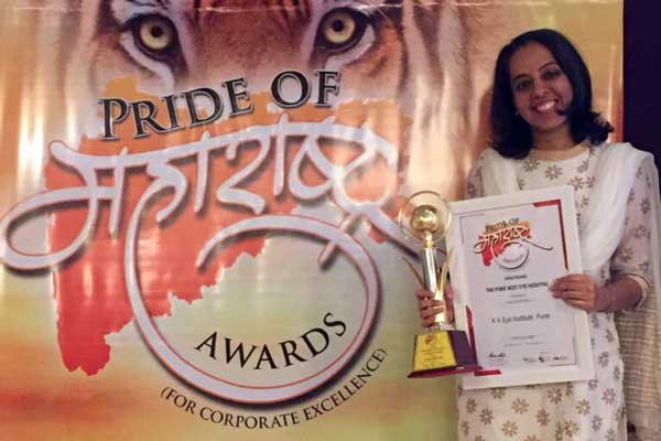 "Pune's K K Eye Institute honoured with the ""Pride of Maharashtra"" Award in the category of the ""Best Eye Hospital"""