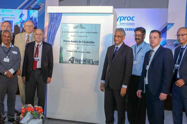 Inauguration of  India's largest Plasterboard Plant by Pierre-André de Chalendar, Chairman and CEO, Compagnie de Saint-Gobain