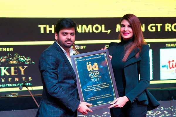 Saurav Beverages conferred with International Icon Award