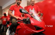 Indian Film Actor and Ducatisti, Amit Sadh unveils the all-new Ducati Panigale V2 in New Delhi