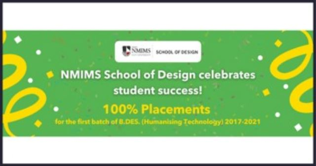 NMIMS' School of Design Declares 100% Placement of B. Des. (Humanising Technology) Batch of 2021