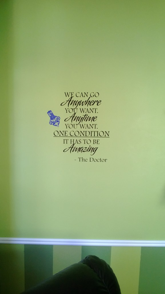 A Doctor Who quote along with a blue mini TARDIS sticker.