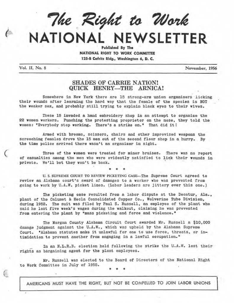 November 1956 National Right to Work Newsletter