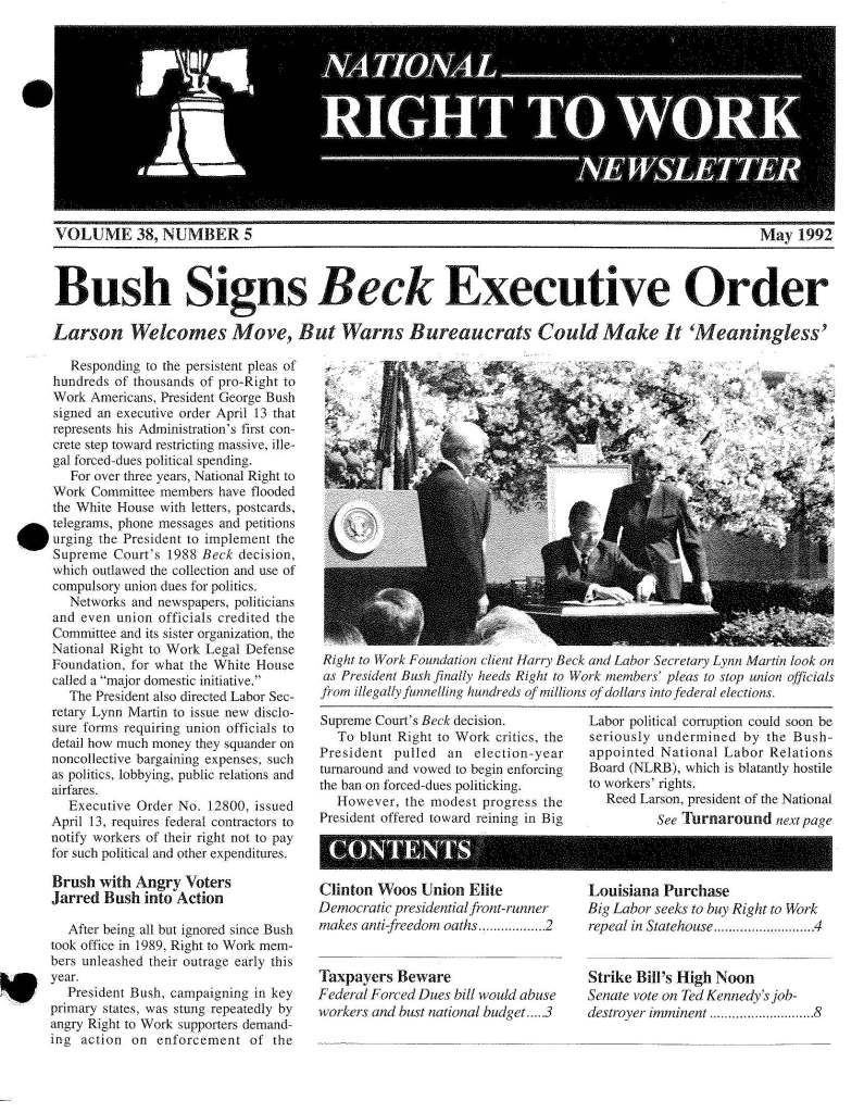 May 1992 National Right to Work Newsletter