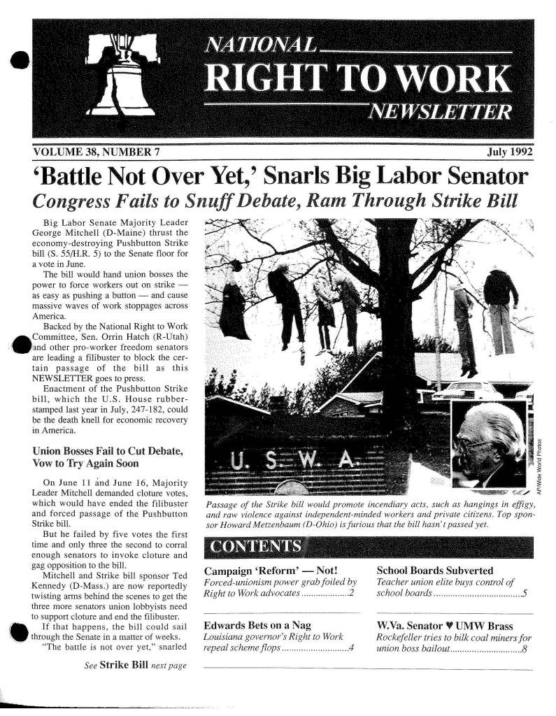 July 1992 National Right to Work Newsletter