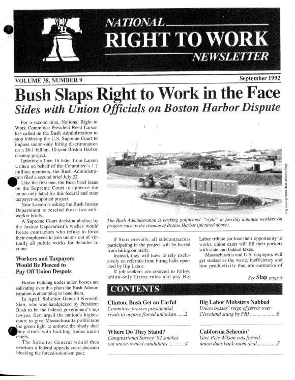 September 1992 National Right to Work Newsletter