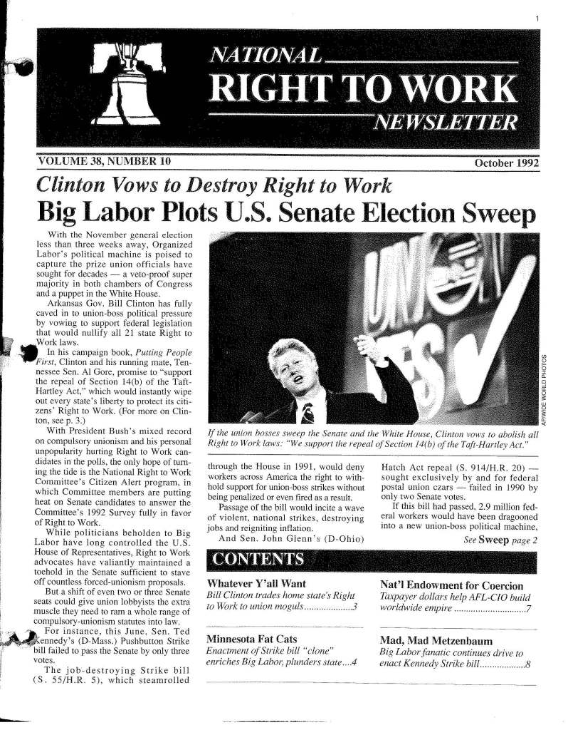October 1992 National Right to Work Newsletter