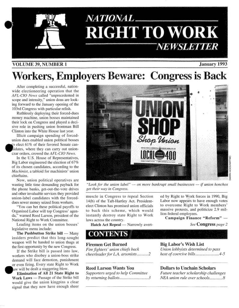 January 1993 National Right to Work Newsletter