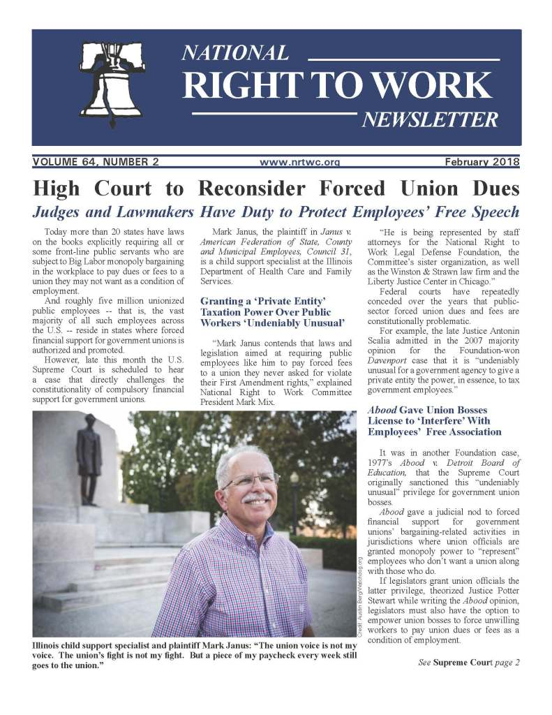February 2018 National Right to Work Newsletter