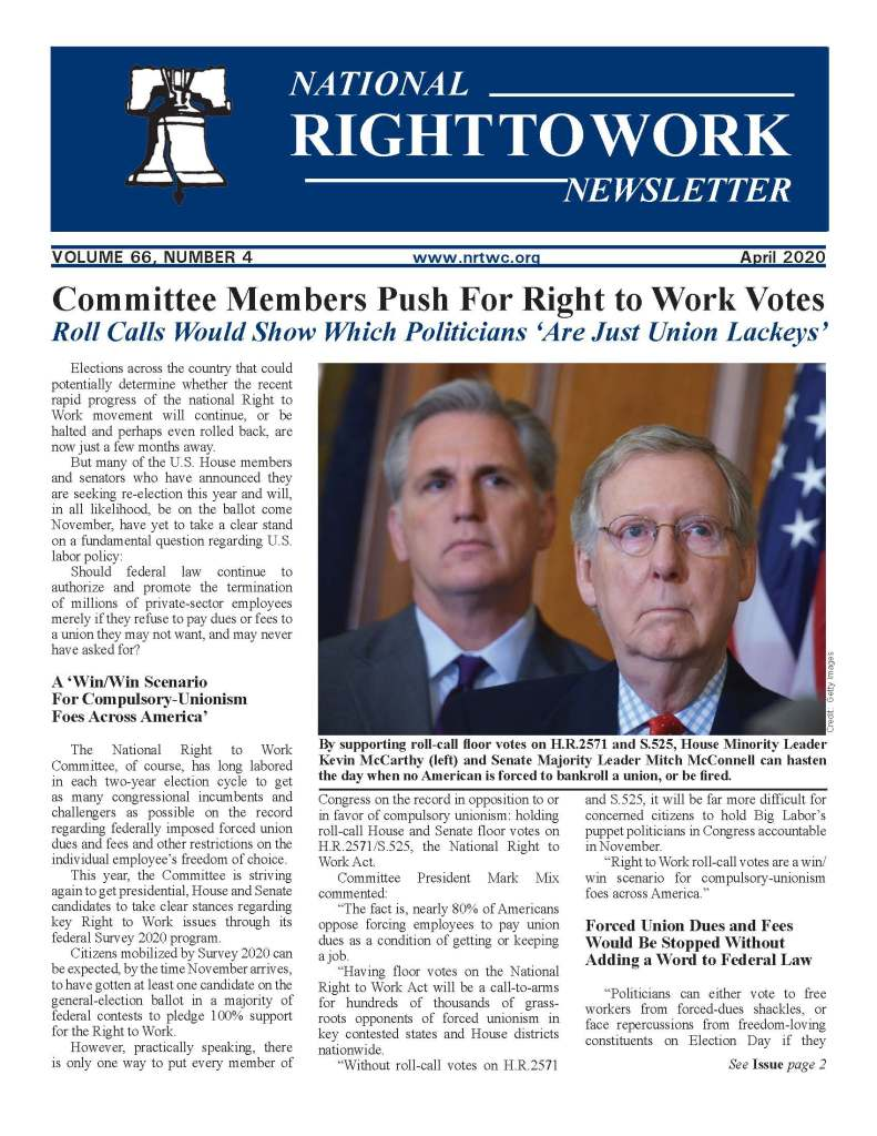 April 2020 National Right to Work Newsletter