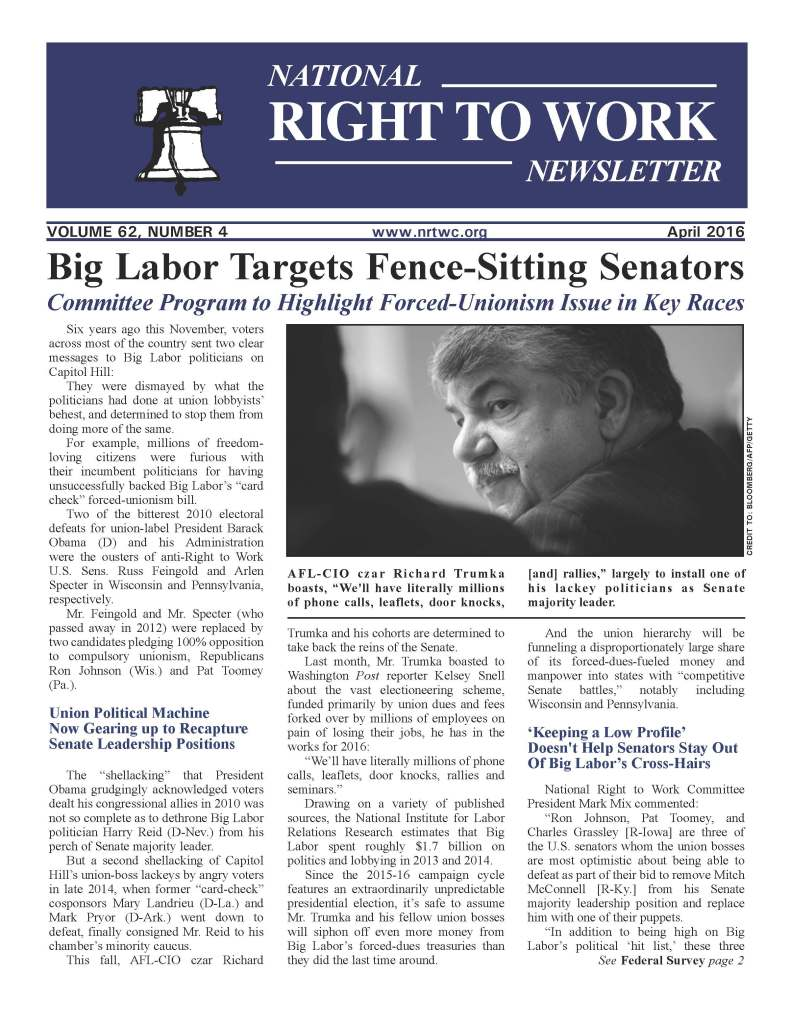 April 2016 National Right to Work Newsletter