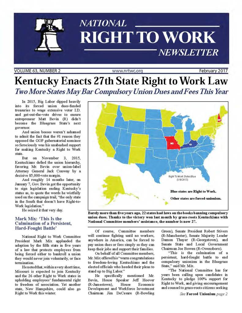 February 2017 National Right to Work Newsletter