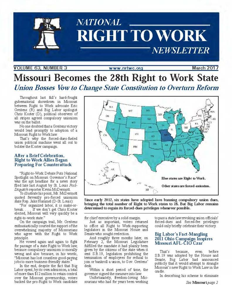 March 2017 National Right to Work Newsletter
