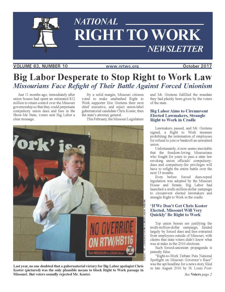 October 2017 National Right to Work Newsletter
