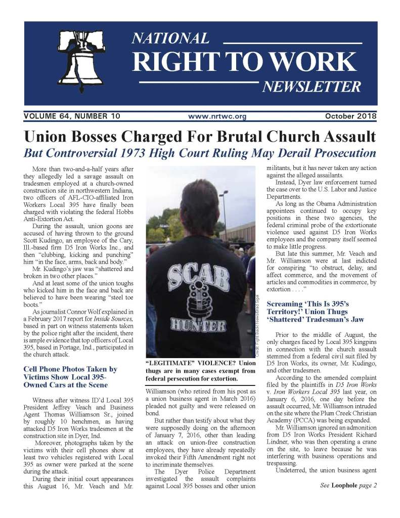 October 2018 National Right to Work Newsletter