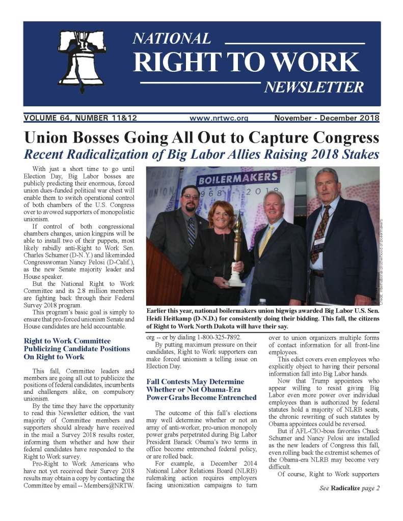 November/December 2018 National Right to Work Newlsetter