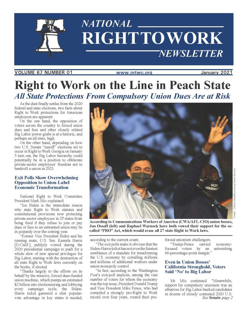 January 2021 National Right to Work Newsletter