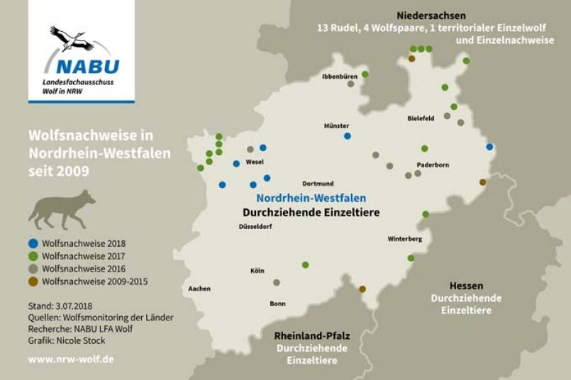 Wölfe in NRW nach Jahren - Stand Juli 2018 - Grafik: Nicole Stock