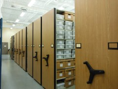 View of the interior of the archaeology lab showing part of the archaeological collection in storage. The collection is comprised of over 1 million artifacts from Atlantic Canadian archaeological sites, and is a unique resource for researchers, students, and members of descendant communities whose stories are recorded in these objects. Credit: Nova Scotia Archaeology Society