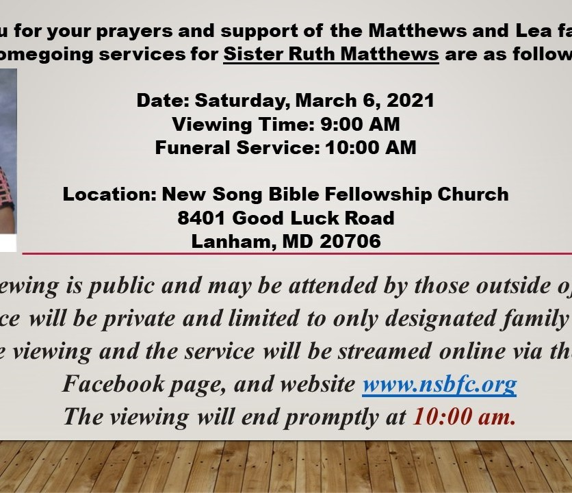 If you have any questions please contact the church before March 6, 2021