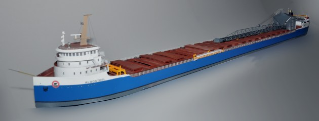 Bow view of N scale 735' Great Lakes bulk cargo ship with self unloader