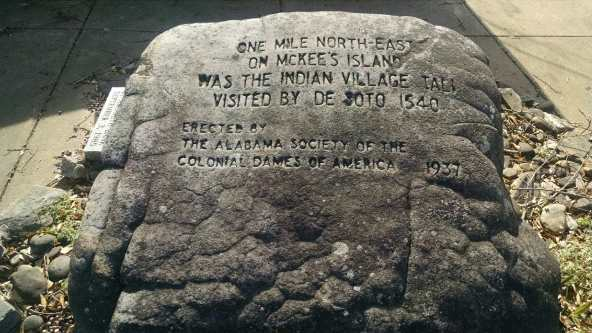 1937: A large stone marker commemorating the visit of DeSoto to the Indian village of Toli, on McKee's Island near Guntersville, in 1540