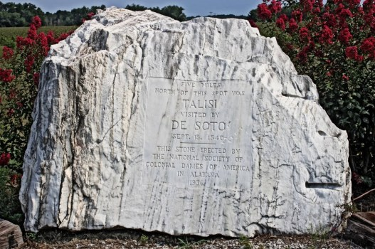 1936: A boulder commemorating DeSoto's visit to the Indian village of Talisi, September 18, 1540. This is near Childersburg, Alabama.