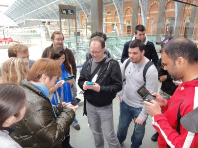 Yoshinori Ono Sharing his me with fans at the London St Pancras 3DS StreetPass Event (5)