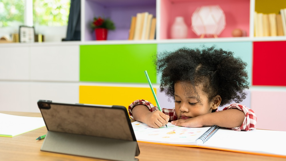 small child in front of a laptop