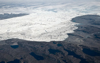 Photo of Jakobshavn Isfjord, the largest outlet glacier on Greenland's West Coast.