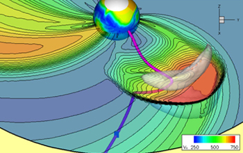 Graphic showing the coronal mass ejection as a gray cloud in the lower right.