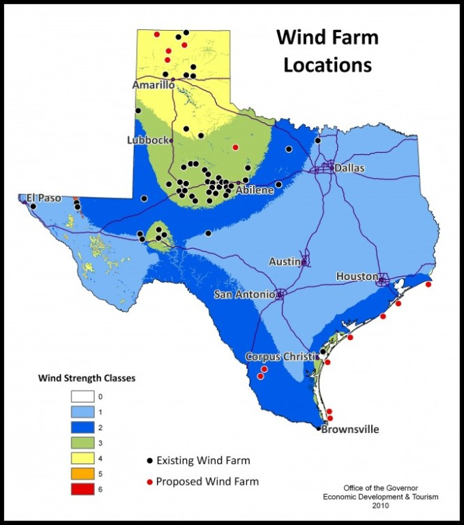 Wind Turbines In Texas Map Wind - Map of wind farms in the us