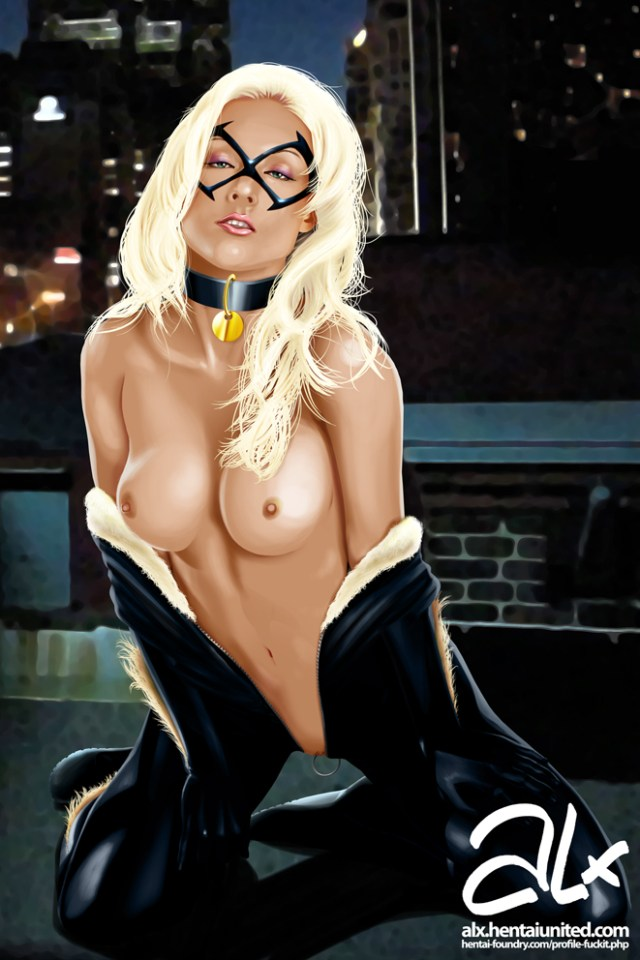 black cat topless showing her belly button.jpg