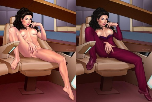 deanna troi nude on the bridge