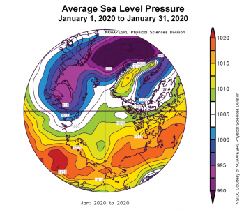 Figure 2c. This plot shows average sea level pressure in the Arctic in millibars (hPa) from January 1, 2020 to January 31, 2020. Yellows and reds indicate high air pressure; blues and purples indicate low pressure. ||Credit: NSIDC courtesy NOAA Earth System Research Laboratory Physical Sciences Division|High-resolution image