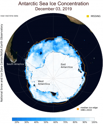 Figure 4. This map shows sea ice concentration surrounding Antarctica on December 3, 2019. A polynya, or opening in sea ice, is visible west of the Weddell Sea. ||Credit: NSIDC| High-resolution image